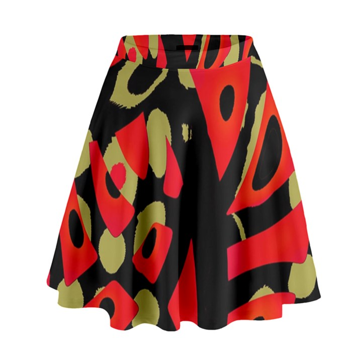 Red artistic design High Waist Skirt