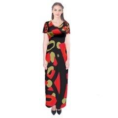Red Artistic Design Short Sleeve Maxi Dress