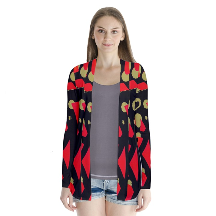 Red artistic design Drape Collar Cardigan