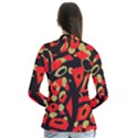 Red artistic design Drape Collar Cardigan View2
