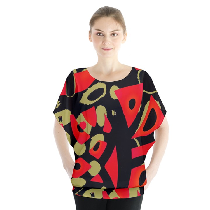 Red artistic design Blouse