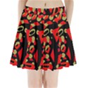 Red artistic design Pleated Mini Skirt View1