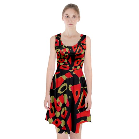 Red artistic design Racerback Midi Dress