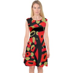 Red artistic design Capsleeve Midi Dress
