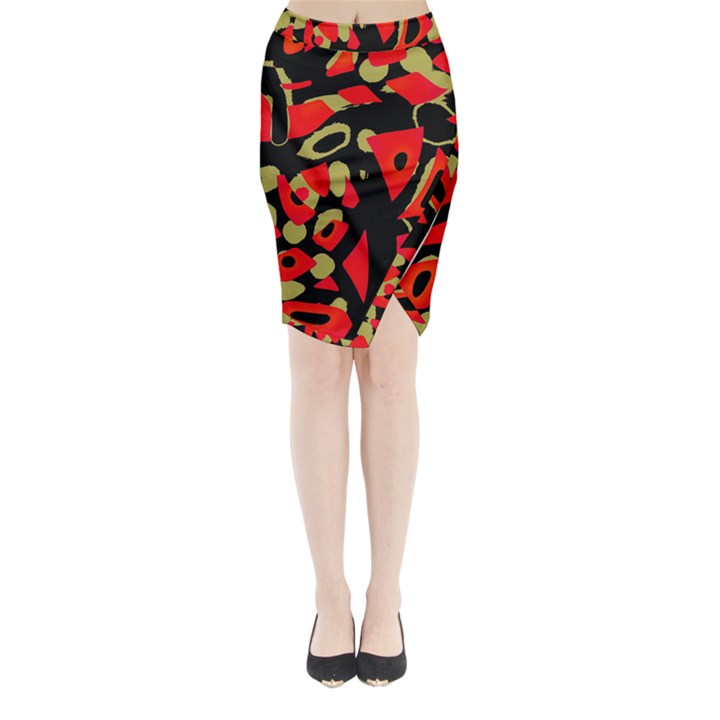 Red artistic design Midi Wrap Pencil Skirt