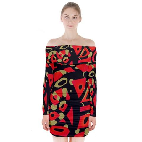 Red artistic design Long Sleeve Off Shoulder Dress