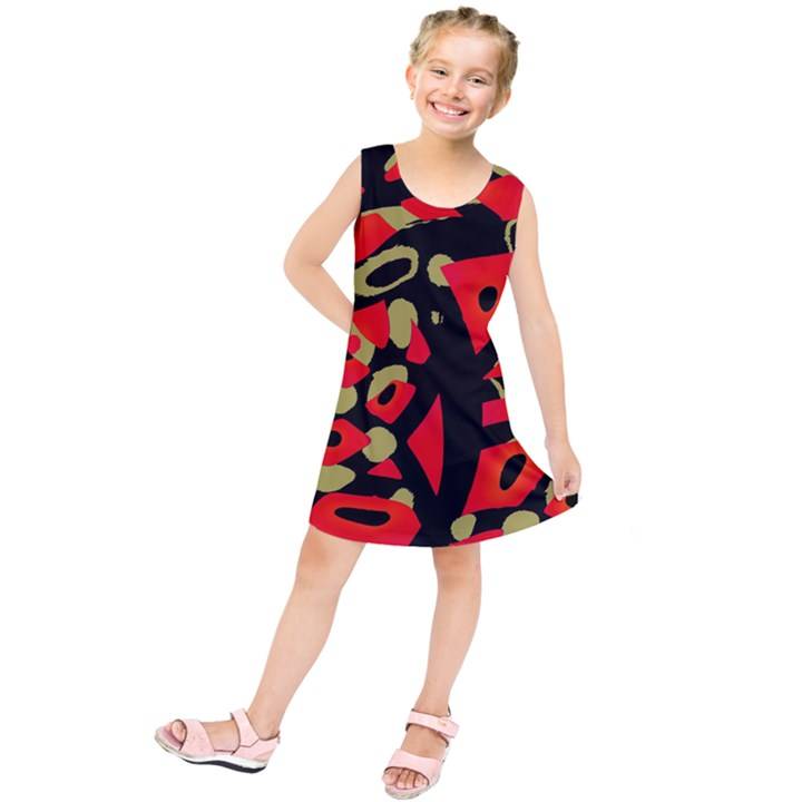 Red artistic design Kids  Tunic Dress
