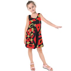 Red artistic design Kids  Sleeveless Dress