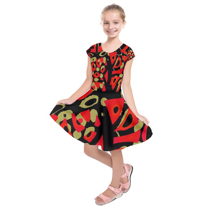 Red artistic design Kids  Short Sleeve Dress