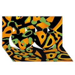 Abstract Animal Print Twin Hearts 3d Greeting Card (8x4)