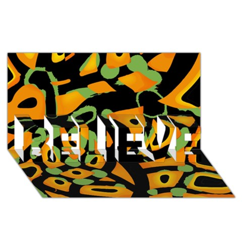 Abstract animal print BELIEVE 3D Greeting Card (8x4)