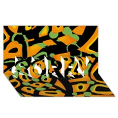 Abstract animal print SORRY 3D Greeting Card (8x4)