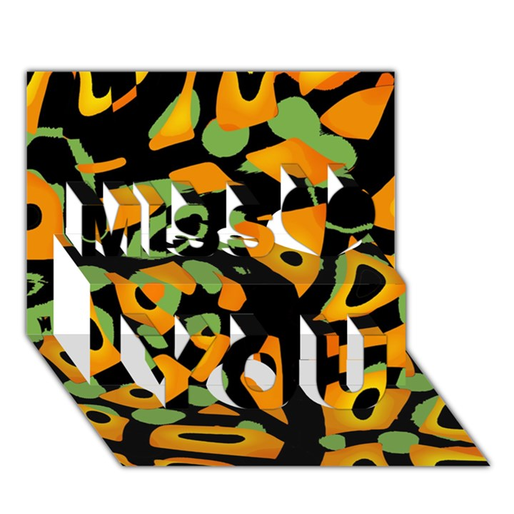 Abstract animal print Miss You 3D Greeting Card (7x5)