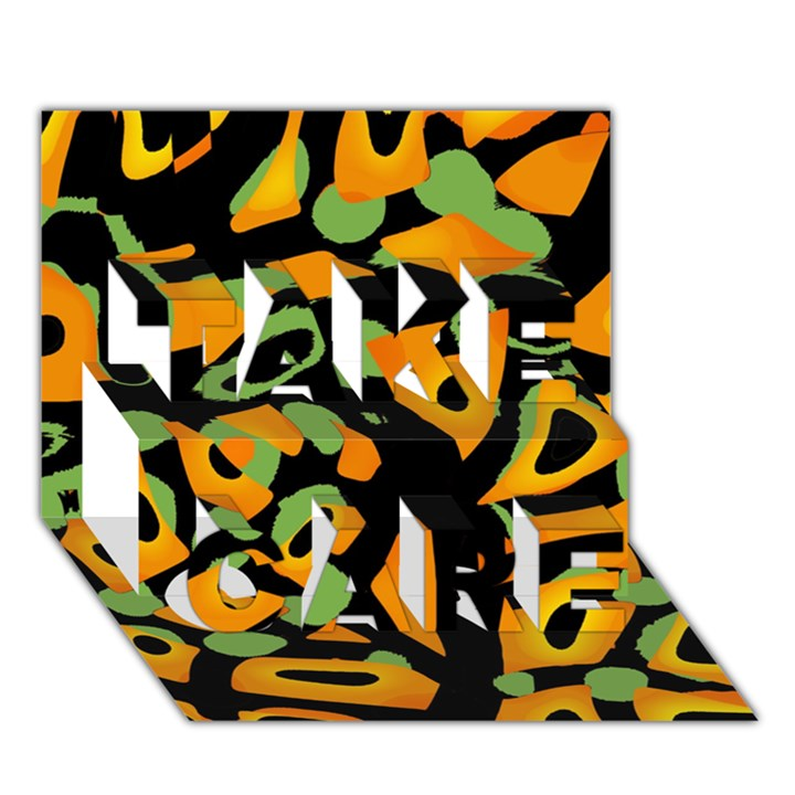 Abstract animal print TAKE CARE 3D Greeting Card (7x5)