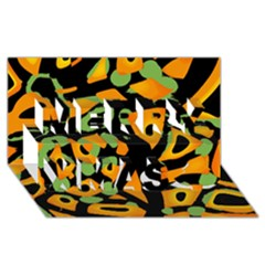 Abstract Animal Print Merry Xmas 3d Greeting Card (8x4)