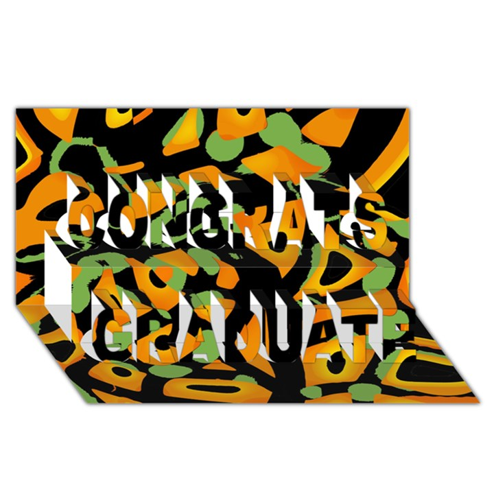 Abstract animal print Congrats Graduate 3D Greeting Card (8x4)