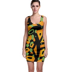 Abstract Animal Print Sleeveless Bodycon Dress