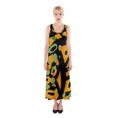 Abstract Animal Print Sleeveless Maxi Dress