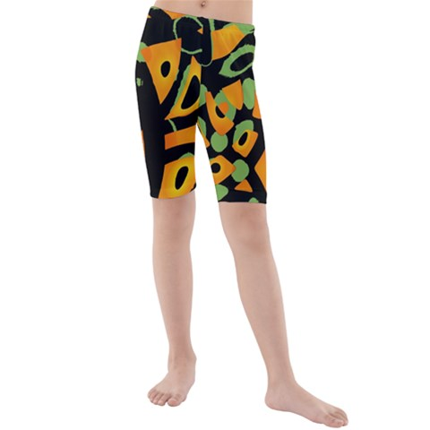 Abstract animal print Kids  Mid Length Swim Shorts
