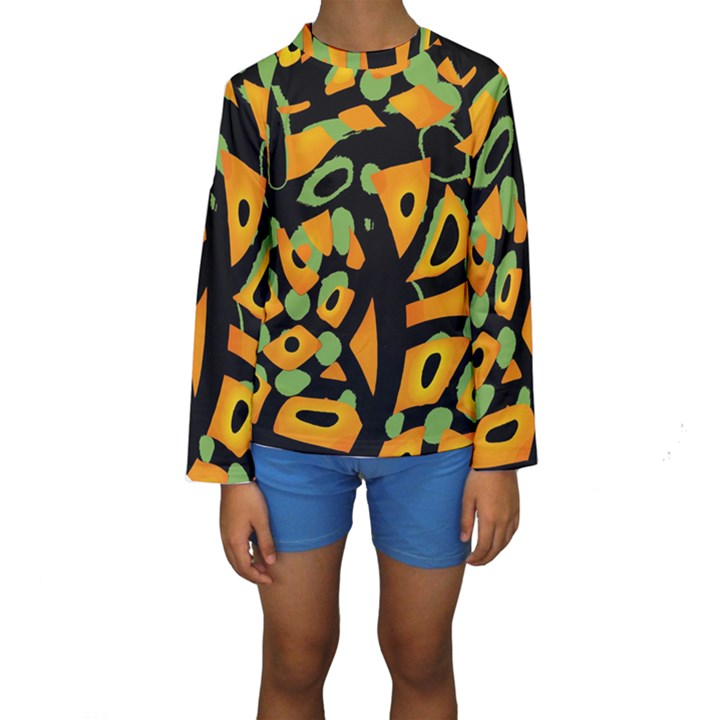 Abstract animal print Kids  Long Sleeve Swimwear
