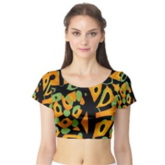 Abstract animal print Short Sleeve Crop Top (Tight Fit)