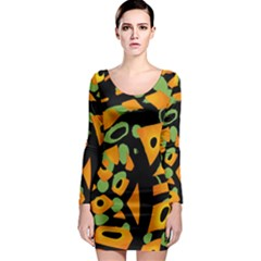 Abstract animal print Long Sleeve Bodycon Dress
