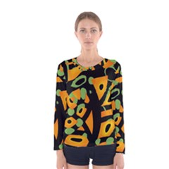 Abstract Animal Print Women s Long Sleeve Tee