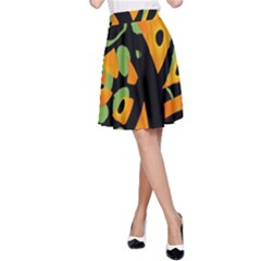 Abstract animal print A-Line Skirt