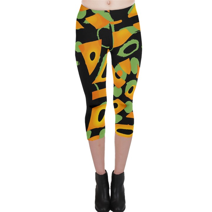 Abstract animal print Capri Leggings