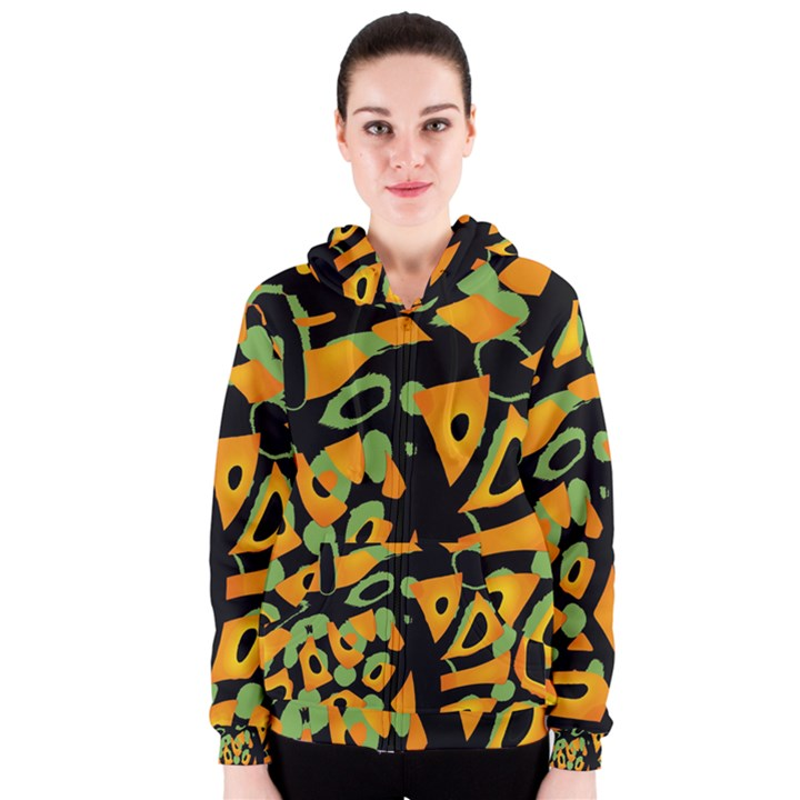 Abstract animal print Women s Zipper Hoodie