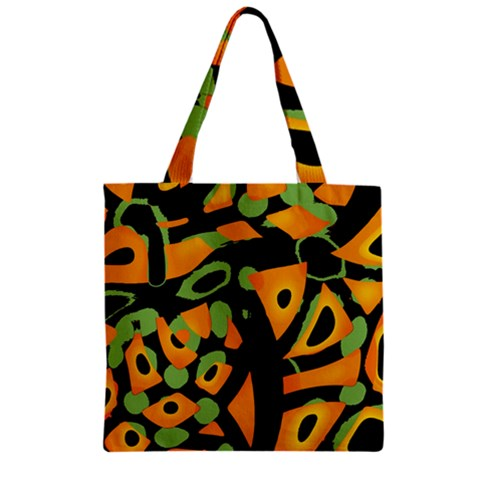 Abstract animal print Zipper Grocery Tote Bag