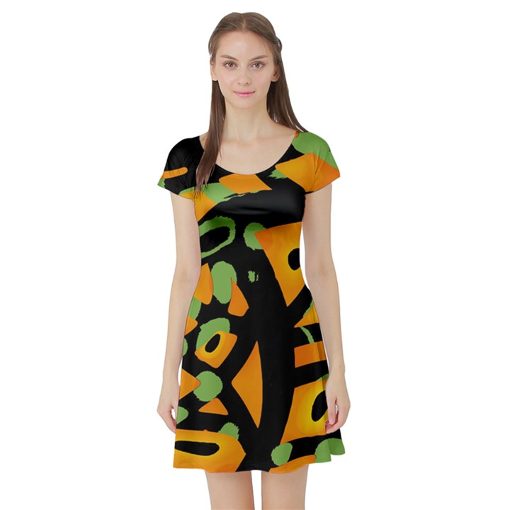 Abstract animal print Short Sleeve Skater Dress