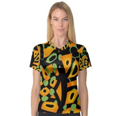 Abstract animal print Women s V-Neck Sport Mesh Tee