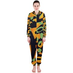 Abstract animal print Hooded Jumpsuit (Ladies)