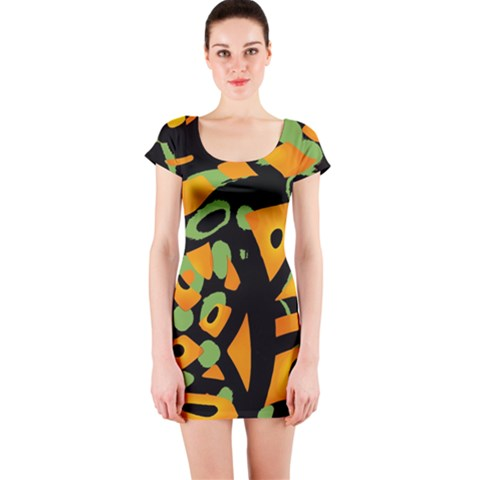 Abstract animal print Short Sleeve Bodycon Dress