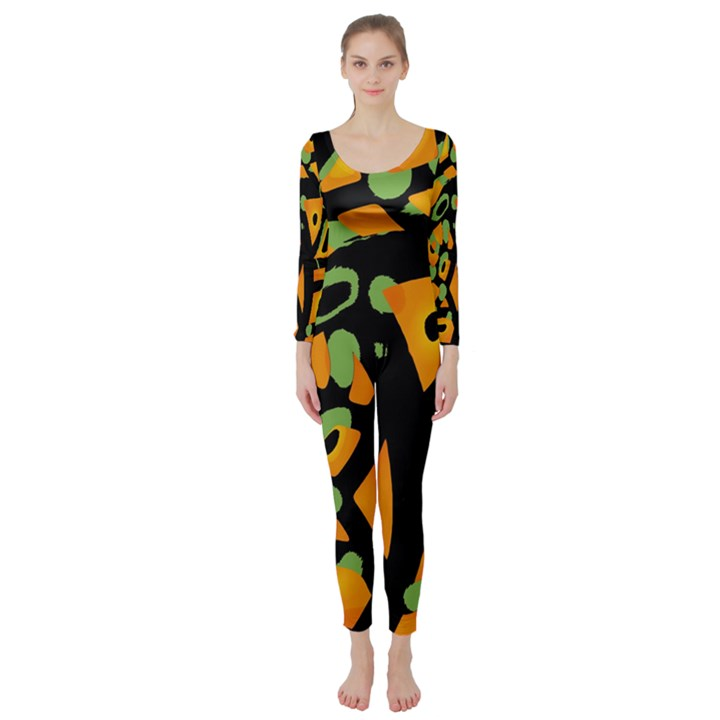 Abstract animal print Long Sleeve Catsuit