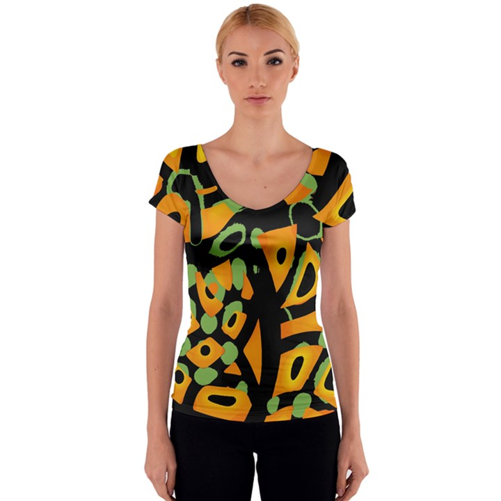 Abstract animal print Women s V-Neck Cap Sleeve Top