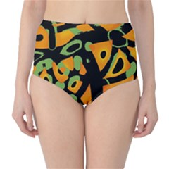 Abstract Animal Print High Waist Bikini Bottoms