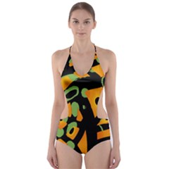 Abstract animal print Cut-Out One Piece Swimsuit