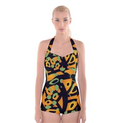 Abstract animal print Boyleg Halter Swimsuit