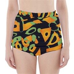 Abstract animal print High-Waisted Bikini Bottoms