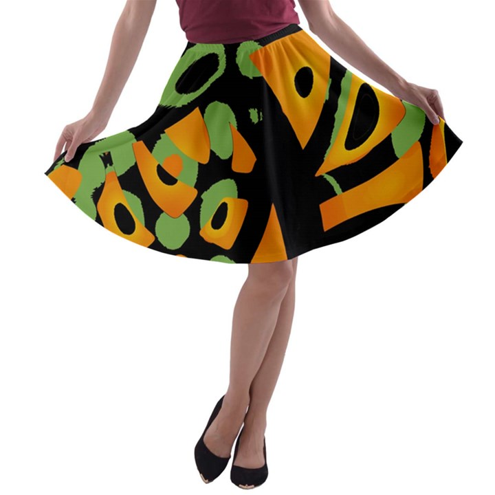 Abstract animal print A-line Skater Skirt