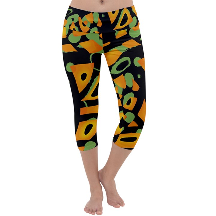 Abstract animal print Capri Yoga Leggings