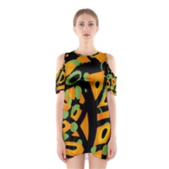 Abstract animal print Cutout Shoulder Dress