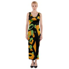 Abstract Animal Print Fitted Maxi Dress