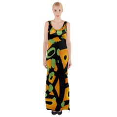 Abstract animal print Maxi Thigh Split Dress