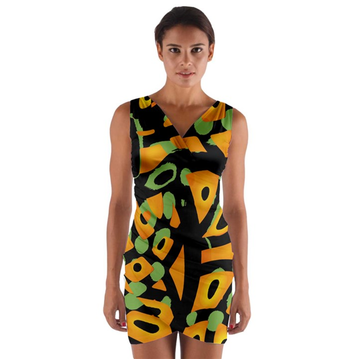 Abstract animal print Wrap Front Bodycon Dress