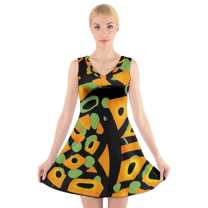 Abstract animal print V-Neck Sleeveless Skater Dress