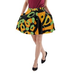 Abstract Animal Print A Line Pocket Skirt