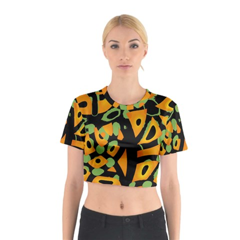 Abstract animal print Cotton Crop Top